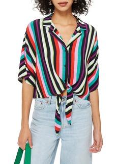 Topshop Beach Stripe Tie Front Shirt