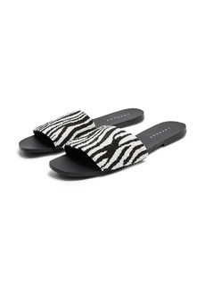 Topshop Beaded Zebra Stripe Slide Sandals (Women)