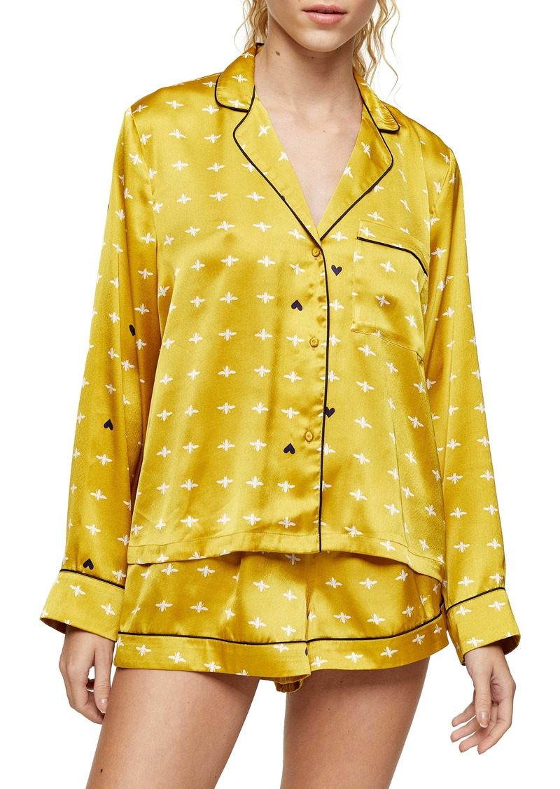 Topshop Bee Print Satin Short Pajamas