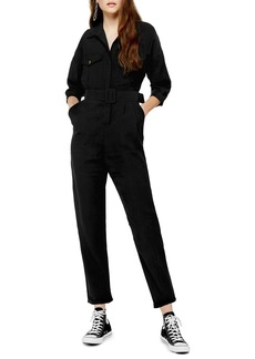 Topshop Belted Button-Up Long Sleeve Jumpsuit