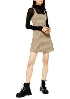 Topshop Belted Check Pinafore Dress