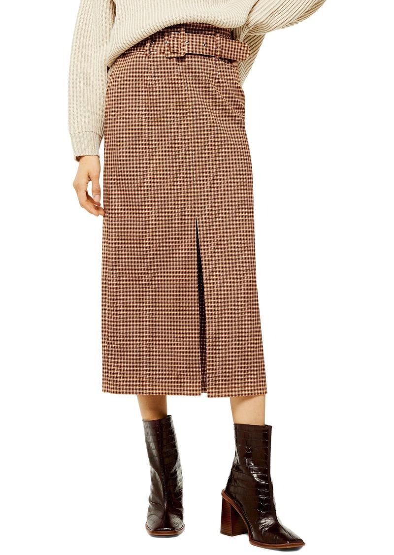 Topshop Belted Check Slit Midi Skirt