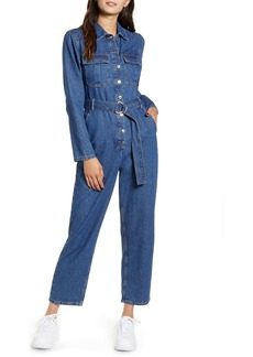 Topshop Belted Denim Boilersuit