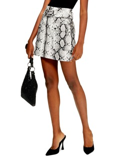 Topshop Belted Faux Leather Snake Print Miniskirt