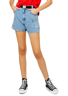 Topshop Belted High Waist Denim Utility Shorts