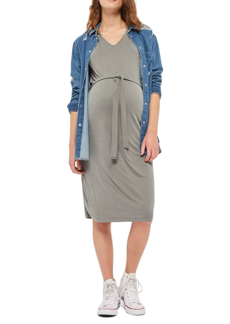 Topshop Topshop Belted Maternity T Shirt Dress Dresses