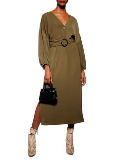 Topshop Belted Midi Dress