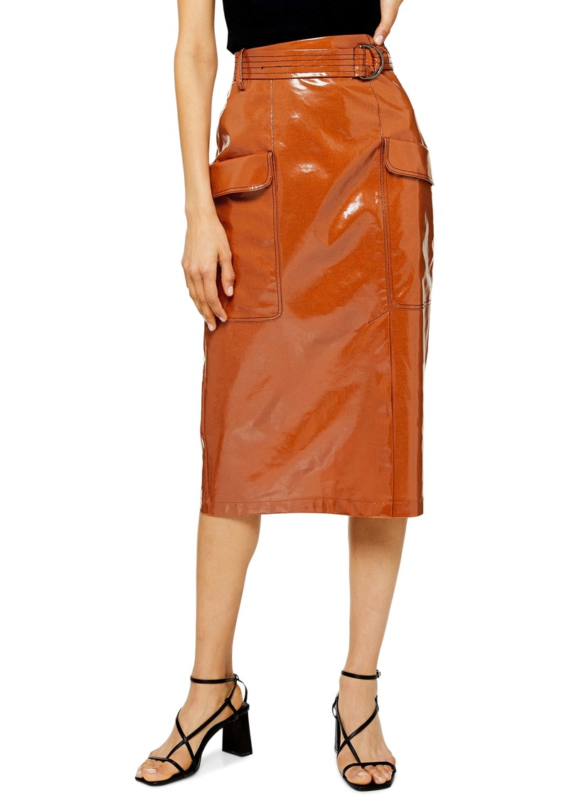 Topshop Belted Vinyl Midi Skirt