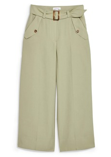 Topshop Belted Wide Leg Crop Trousers