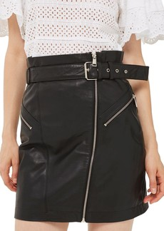 Topshop Belted Zip Leather Skirt