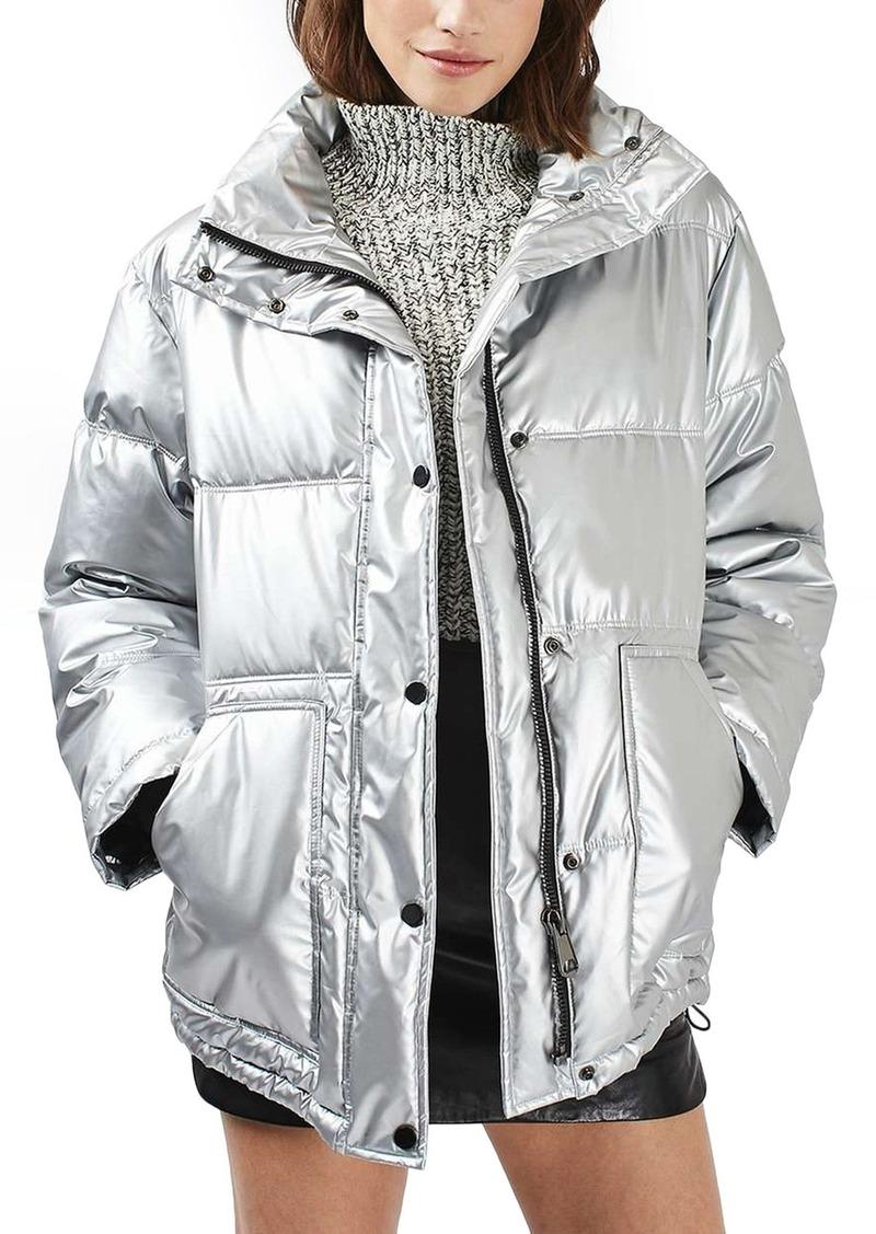 905fe2ec79913f Topshop Topshop Bianca Metallic Puffer Jacket