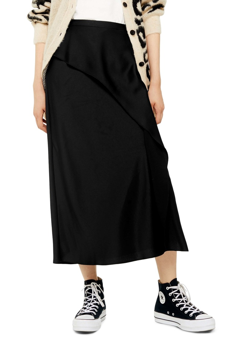 Topshop Bias Cut Satin Midi Skirt