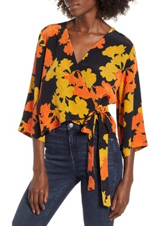 Topshop Big Bloom Tie Wrap Blouse