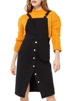 Topshop Black Denim Midi Pinafore Dress