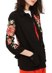 Topshop Black Rose Embroidered Shirt Jacket