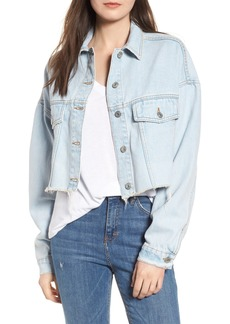 Topshop Bleached Cutoff Denim Jacket