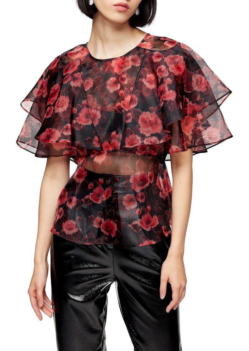 Topshop Bloom Print Ruffle Organza Blouse