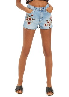 Topshop Blossom Embroidered Denim Mom Shorts