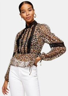 Topshop blouse with lace detail in floral