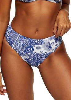 Topshop Blue Swan Print High Waist Swimsuit Bottoms