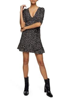 Topshop Blurred Spot V-Neck Wrap Minidress