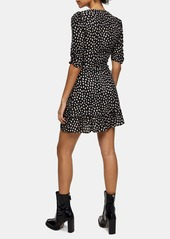Topshop Blurred Spot V-Neck Wrap Minidress