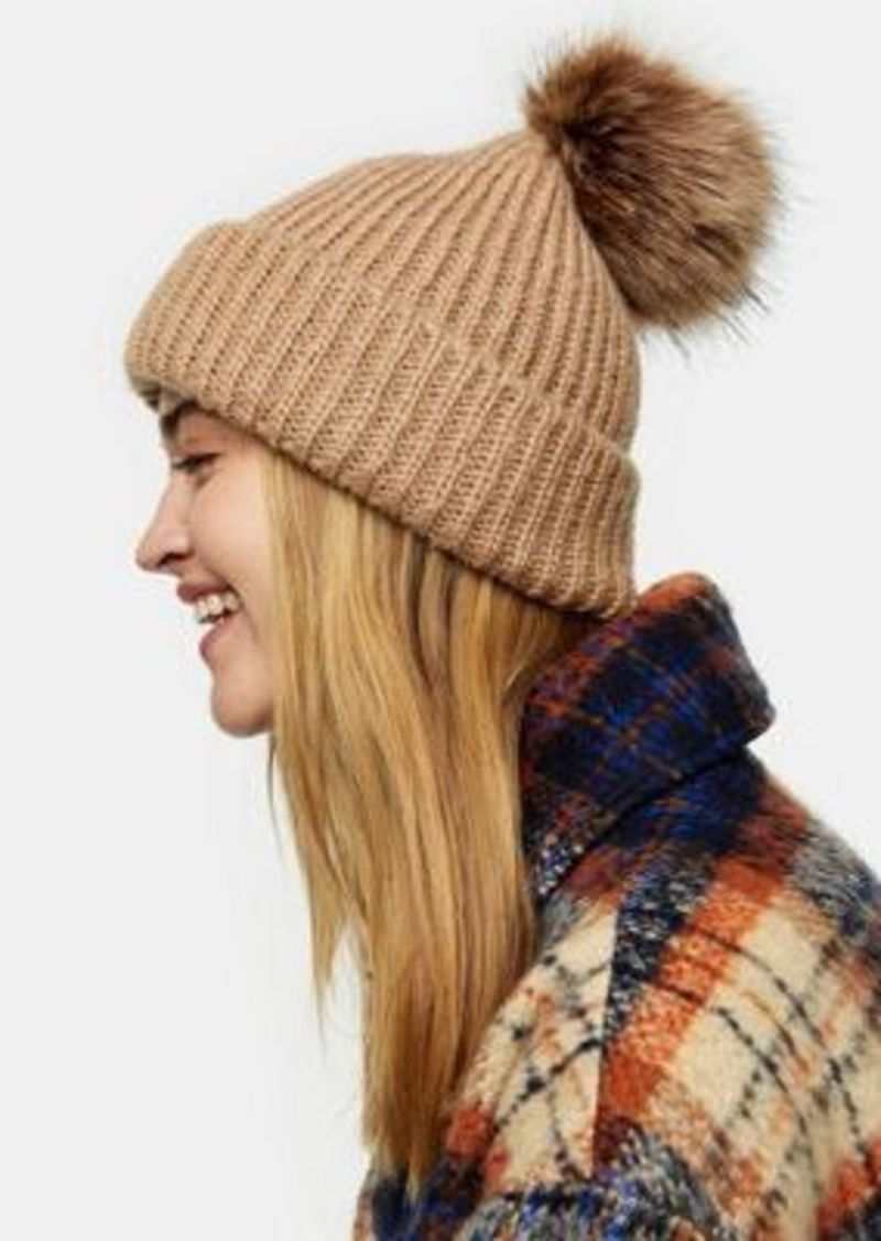 Topshop bobble hat with faux fur pom pom in camel