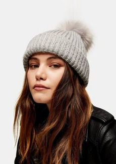 Topshop bobble hat with faux fur pom pom in gray