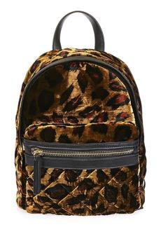 Topshop Bobby Mini Leopard Velvet Backpack