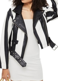 Topshop Boleyn Humbug Stripe Leather Jacket
