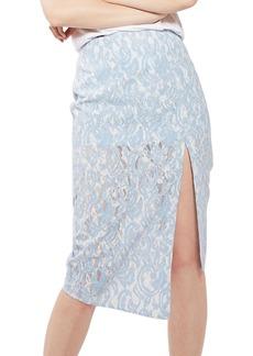 Topshop Bonded Lace Midi Skirt