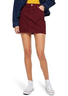 Topshop Bordeaux Denim Skirt