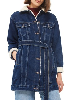 Topshop Borg Belted Longline Denim Jacket