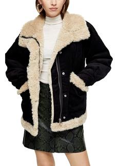 Topshop Borg Corduroy Jacket