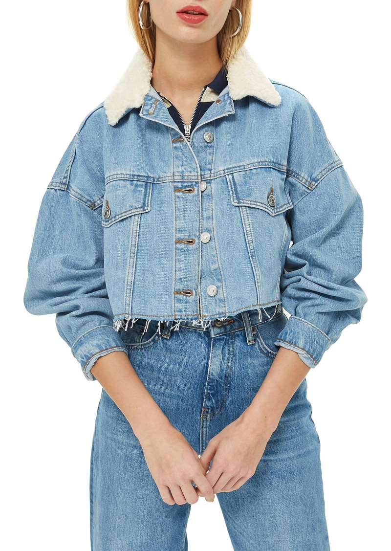 Topshop Borg Faux Fur Collar Hacked Denim Jacket
