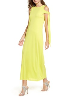 TOPSHOP Boutique Asymmetrical Tie Sleeve Midi Dress