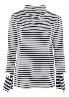 Topshop Boutique Cutoff Sleeve Stripe Top