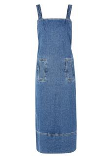 Topshop Boutique Denim Pinafore Wrap Dress