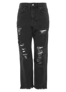 Topshop Boutique Distressed Jeans (Washed Black)