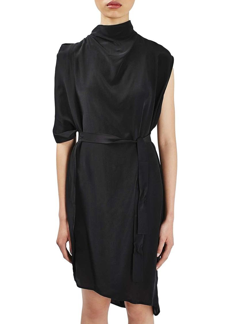 Topshop Boutique Drape Funnel Neck Silk Dress