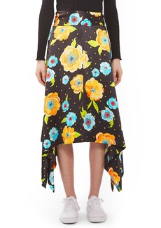 Topshop Boutique Floral Handkerchief Hem Silk Skirt