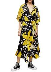 Topshop Boutique Floral Print Midi Dress