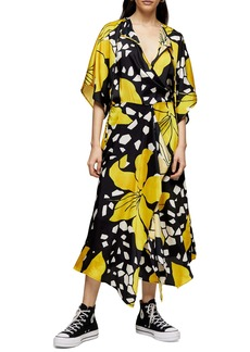 Topshop Boutique Floral Print Midi Dress