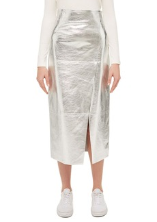 Topshop Boutique Foil Leather Midi Skirt