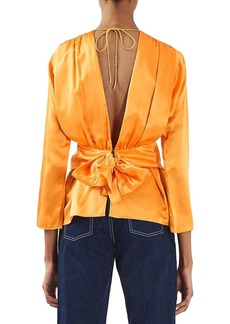 Topshop Boutique Gathered Satin Silk Blouse