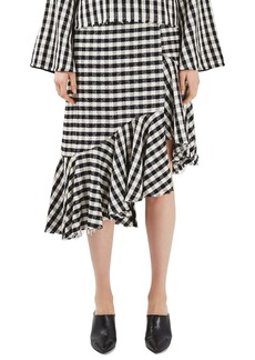 Topshop Boutique Gingham Ruffle Skirt