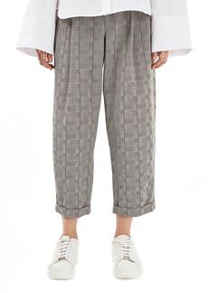 Topshop Boutique Glen Plaid Wool Trousers