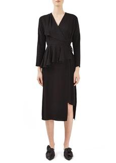 Topshop Boutique Jacquard Peplum Wrap Dress