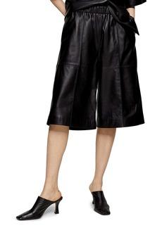 Topshop Boutique Leather Bermuda Shorts