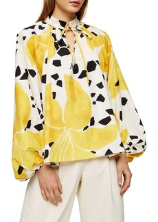 Topshop Boutique Lily Print Balloon Sleeve Top